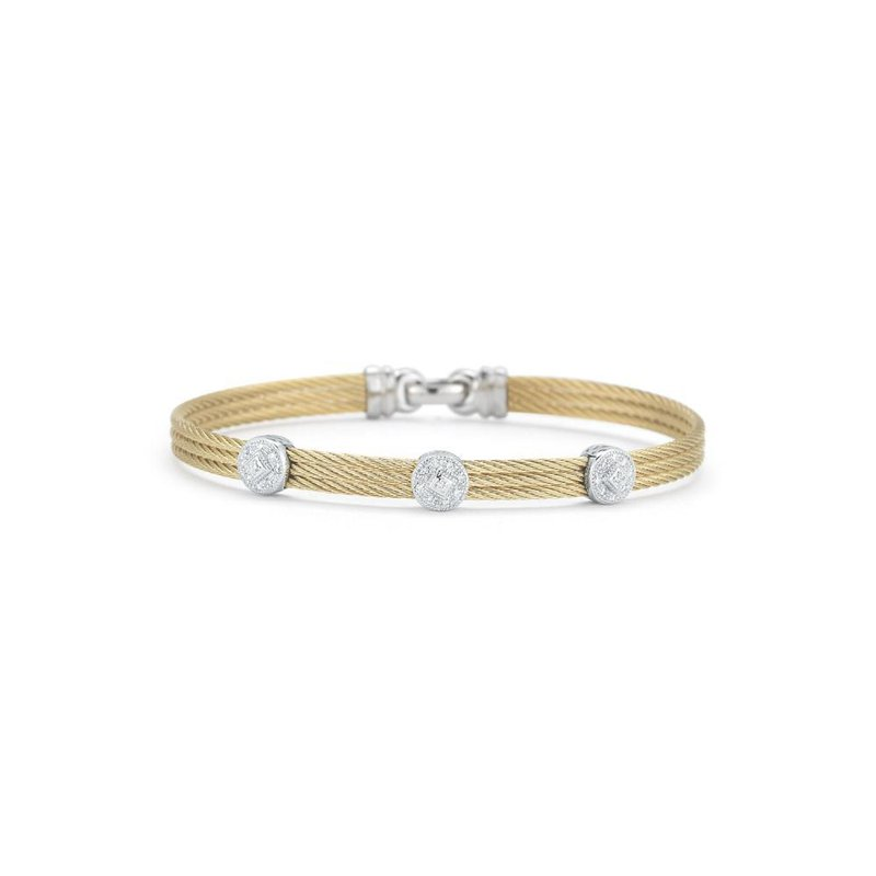 ALOR Yellow Cable Classic Stackable Bracelet with Triple Round Station set in 18kt White Gold