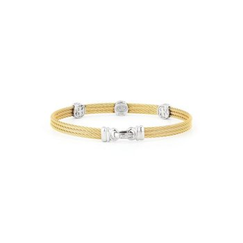 Yellow Cable Classic Stackable Bracelet with Triple Round Station set in 18kt White Gold