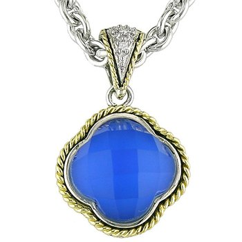 18kt and Sterling Silver Doublet Blue Agate Clover Diamond Pendant with Chain