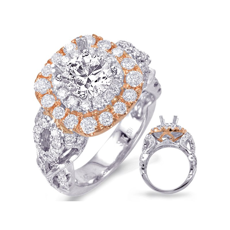 S. Kashi & Sons Bridal White & Rose Gold Halo Engagement Ring
