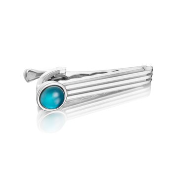 Racing Tie Bar featuring London Blue Topaz over Mother of Pearl