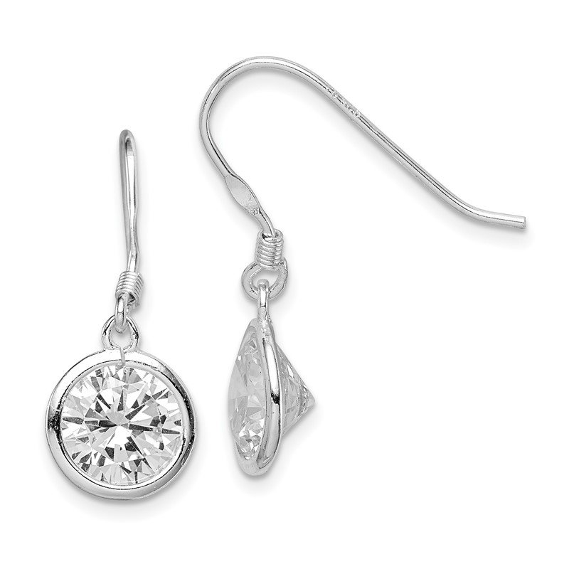 Quality Gold Sterling Silver 10mm Round Clear CZ Dangle Earrings
