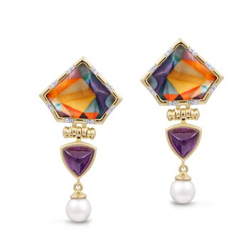 LuvMyJewelry Amethyst & Vibrant Mosaic Mysterious Mayhem Pearl Drop Diamond Earrings in Sterling Silver & 14 KT Yellow Gold Plating