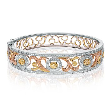 Tri-Colored Diamond Fashion Bangle