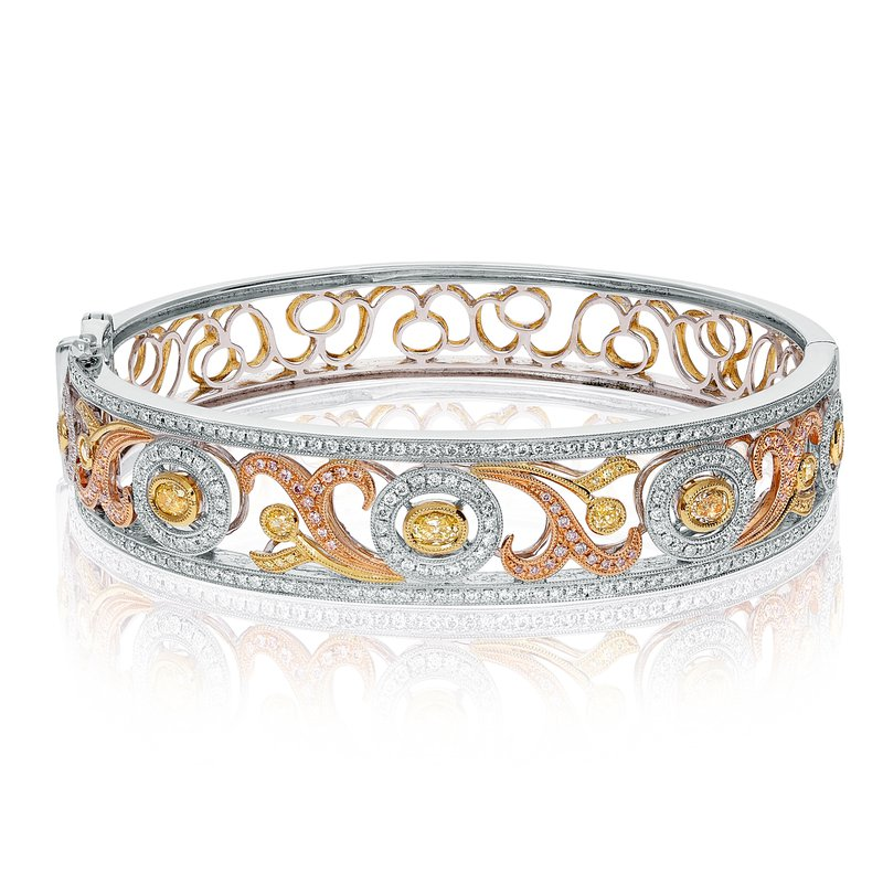 Roman & Jules Tri-Colored Diamond Fashion Bangle