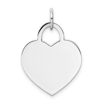 14k White Gold Large Engravable Heart