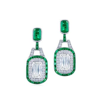 Double Halo Emerald Drop Earrings