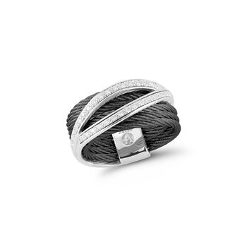 Black Cable Divided Ring with 18kt White Gold & Diamonds
