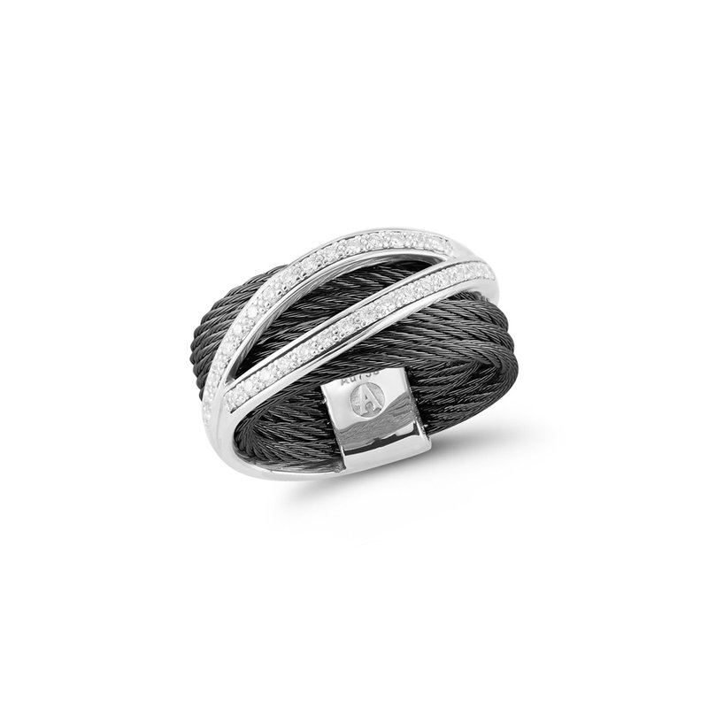 ALOR Black Cable Divided Ring with 18kt White Gold & Diamonds