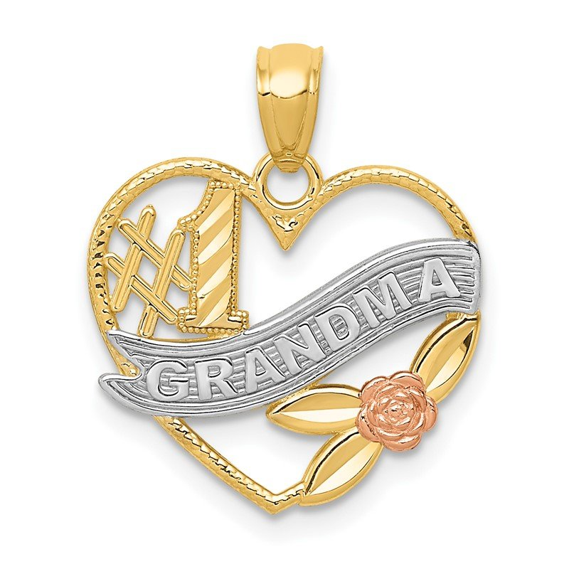 Quality Gold 14k Two-tone w/White Rhodium #1 GRANDMA Heart Pendant
