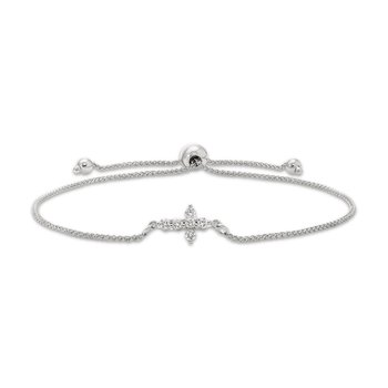 White gold & diamond cross bolo bracelet