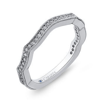 18K White Gold Round Diamond Wedding Band