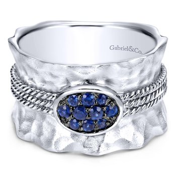 925 Sterling Silver Hammered Wide Band Sapphire Cluster Ring