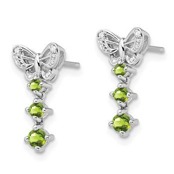 Sterling Silver Rhodium-plated Peridot Diamond Earrings