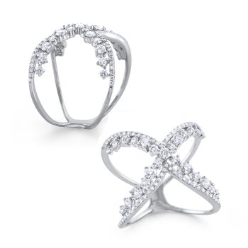 14K Double the Diamonds Crossover Ring