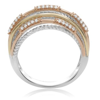 Tricolored Modern Diamond Ring
