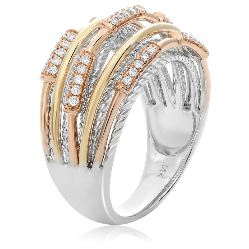 Roman & Jules Tricolored Modern Diamond Ring