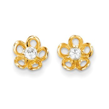 14k Madi K Flower w/CZ Post Earrings