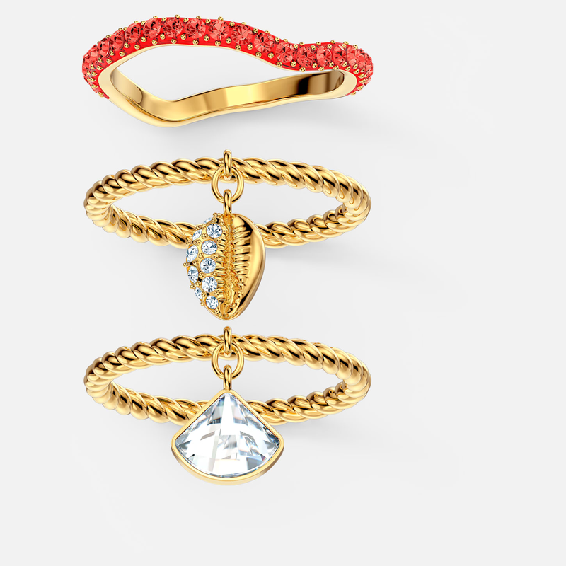 Swarovski Shell Ring Set, Red, Gold-tone plated