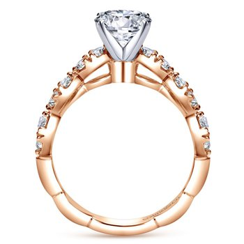 14k Rose Gold Round Contemporary Diamond Engagement Ring