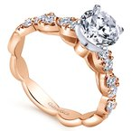Gabriel Bridal 14k Rose Gold Round Contemporary Diamond Engagement Ring
