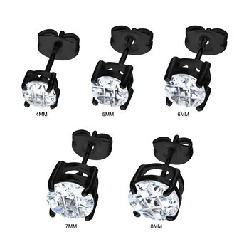 Stainless Steel and Black Plated with Hashtag CZ Round Cut Stud Earrings