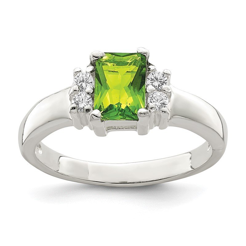 Arizona Diamond Center Collection Sterling Silver Lime Green & White CZ Ring