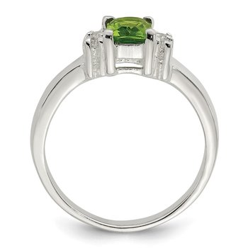 Sterling Silver Lime Green & White CZ Ring