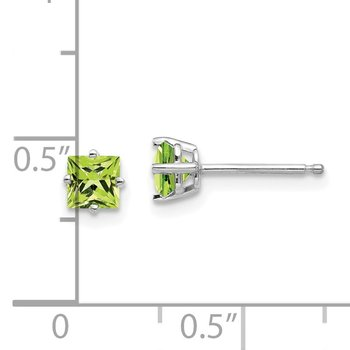 14k White Gold 4mm Square Step Cut Peridot Earrings