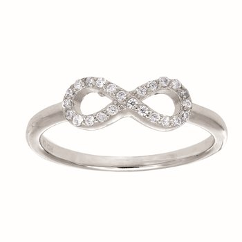 Silver CZ Infinity X Ring