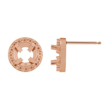 14K Rose 7 mm Round Halo-Style Friction Post Earring Mounting