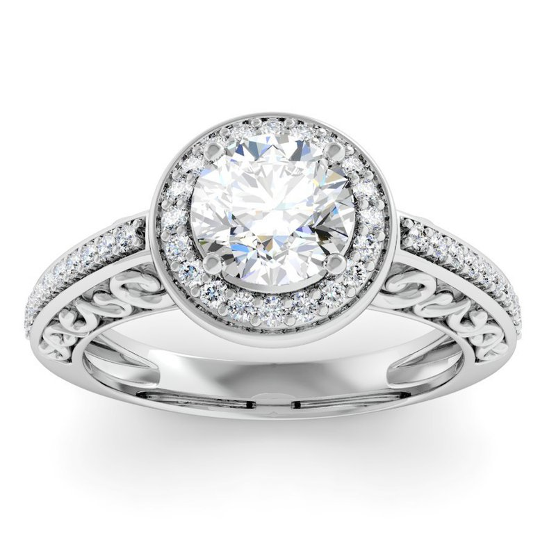 J.F. Kruse Signature Collection Antique Design Halo Engagement Ring