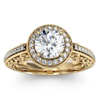 Antique Design Halo Engagement Ring