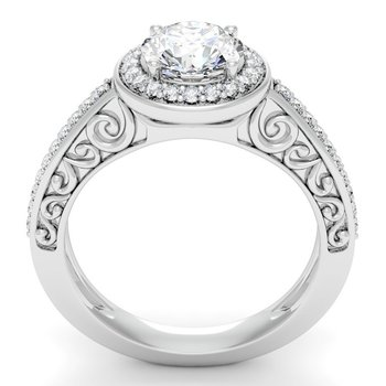 Antique Design Halo Engagement Ring