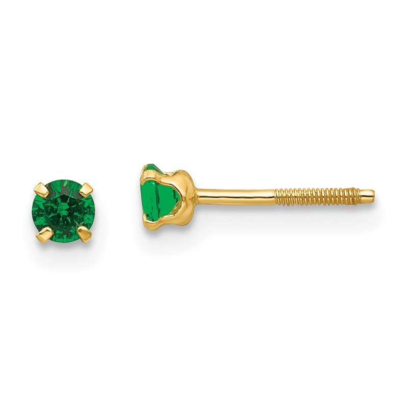 Quality Gold 14k Madi K 3mm Synthetic Emerald Birthstone Earrings