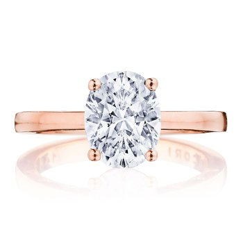 Coastal Crescent Rose Gold Oval Engagement Ring