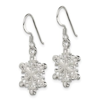 Sterling Silver Polished / Satin CZ Snowflake Dangle Earrings