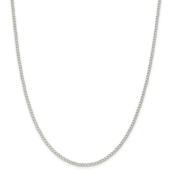 Sterling Silver 2.5mm Open D/C Curb Chain Anklet