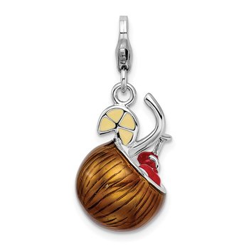 Sterling Silver RH 3-D Enameled Pina Colada w/Lobster Clasp Charm