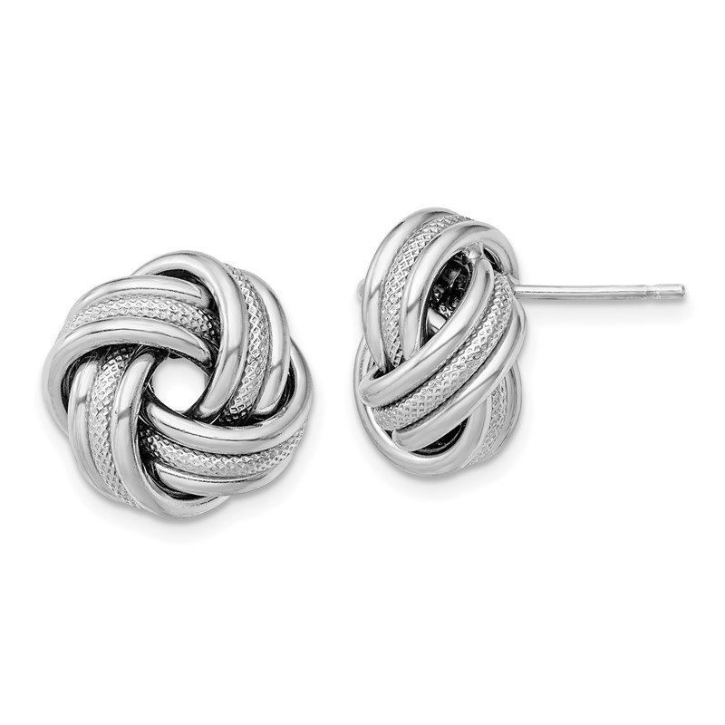 Quality Gold Sterling Silver Rhodium Plated Textured Love Knot Post Earrings