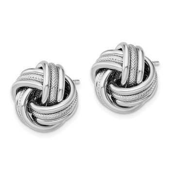 Sterling Silver Rhodium Plated Textured Love Knot Post Earrings