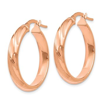 Leslie's 14k Rose Gold Polished and Satin Hoop Earrings