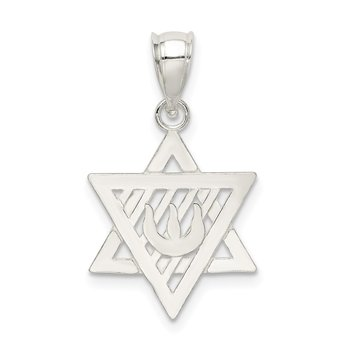 Sterling Silver Polished Star of David Pendant