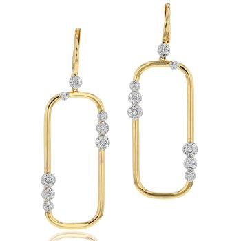 Yellow gold diamond Infinity Link long leverback earrings