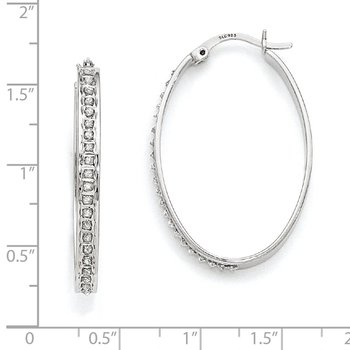 Sterling Silver Diamond Mystique Oval Hoop Earrings