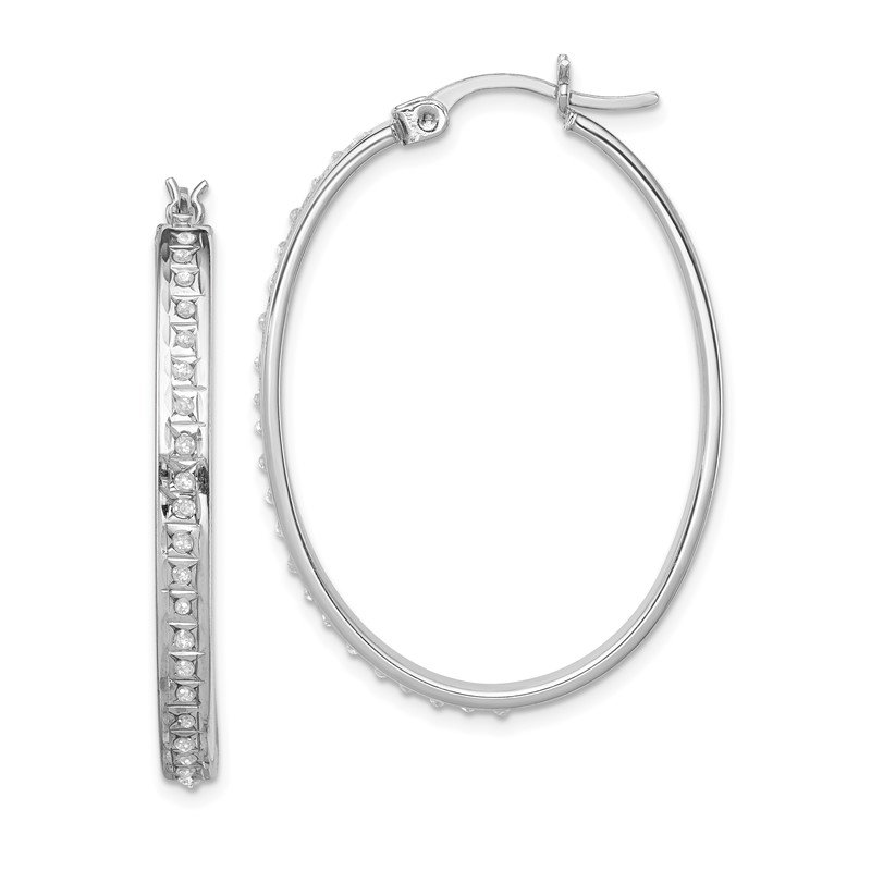 Quality Gold Sterling Silver Diamond Mystique Oval Hoop Earrings