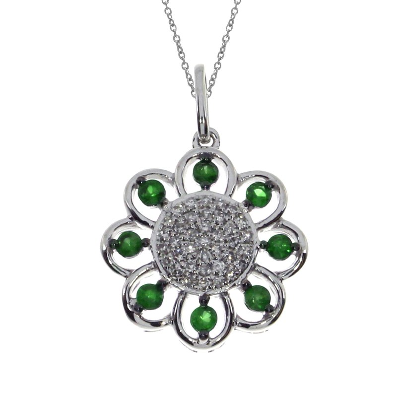 Color Merchants 14k White Gold Emerald Sunflower Pendant