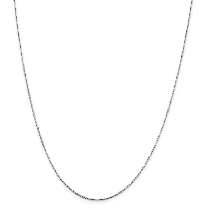 Quality Gold Sterling Silver Rhodium-plated .8mm Round Snake Chain w/2in ext.