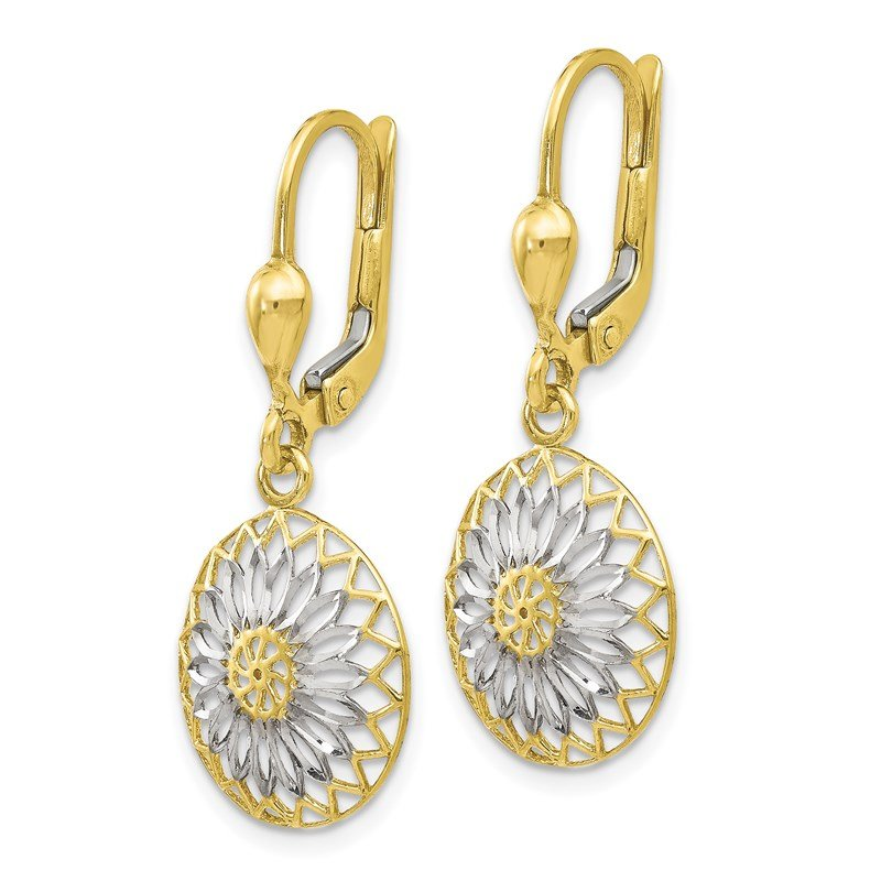 Leslie's Italian Gold Leslie's 10K w/White Rhodium Polished Leverback Earrings