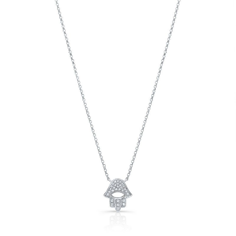 White Gold Piety Pave Open Hamsa Necklace
